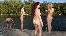Nagie laski na rybach zabrały się za wędkowanie nad jeziorem. Nagie zdjęcie pięknych i seksownych pań łowiących ryby
